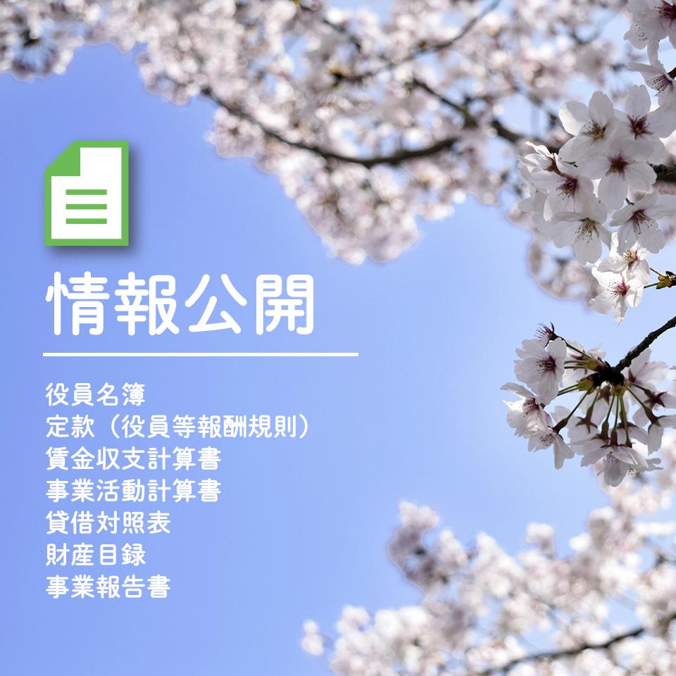情報公開|役員名簿・定款・賃金収支計算書・事業活動計算書・貸借対照表・財産目録・事業報告書等